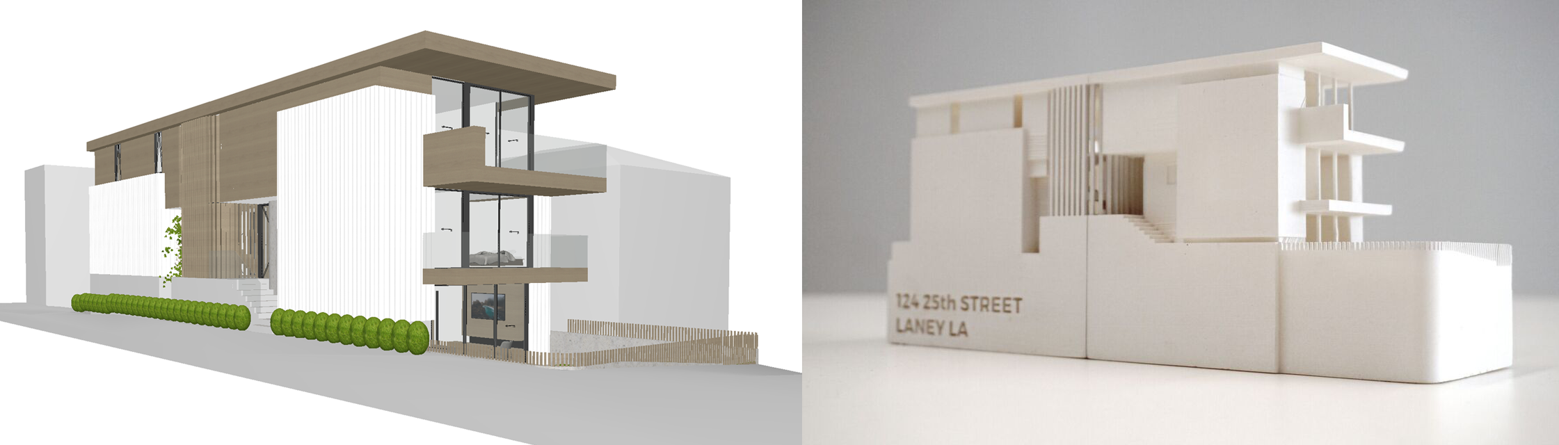 A digital rendering of a house next to a 3D printed model of the same house.