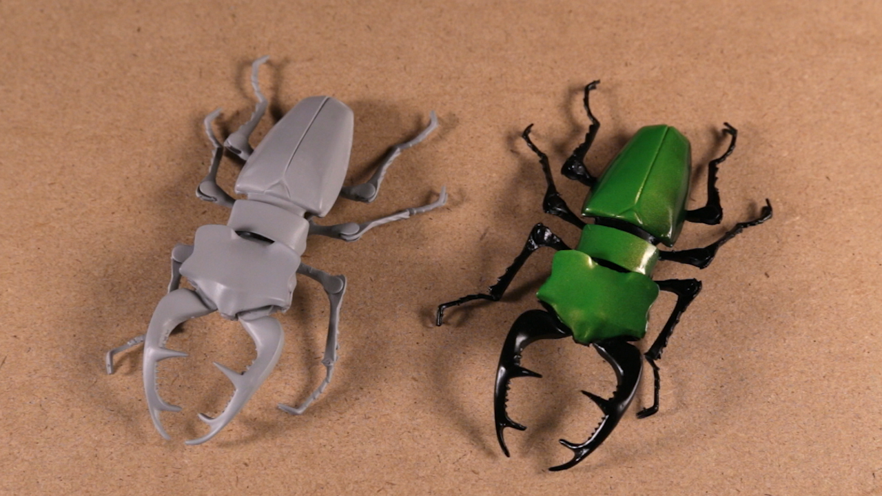 primed and painted 3D printed beetles