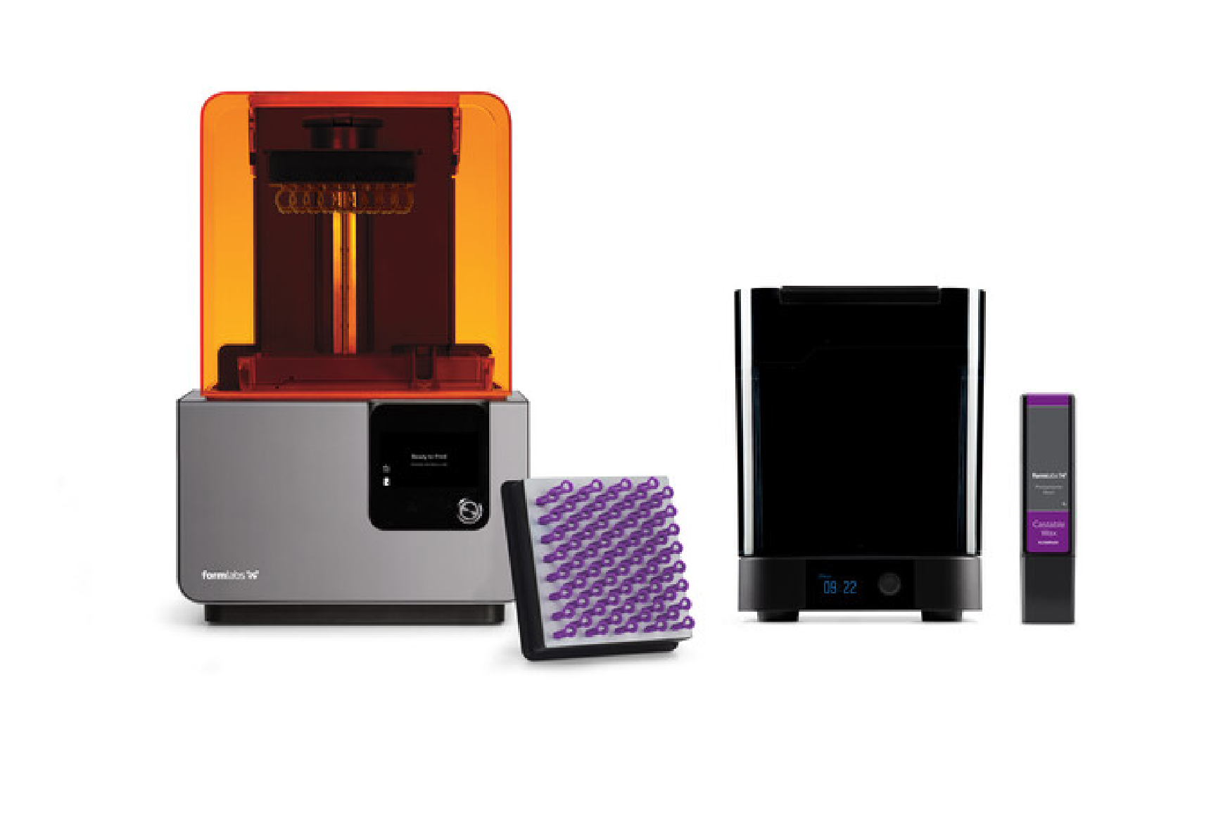 A complete setup for 3D printing Castable Wax: the Form 2 desktop stereolithography 3D printer, Form Wash automated wash station, a cartridge of Castable Wax Resin, and a build platform of printed parts.