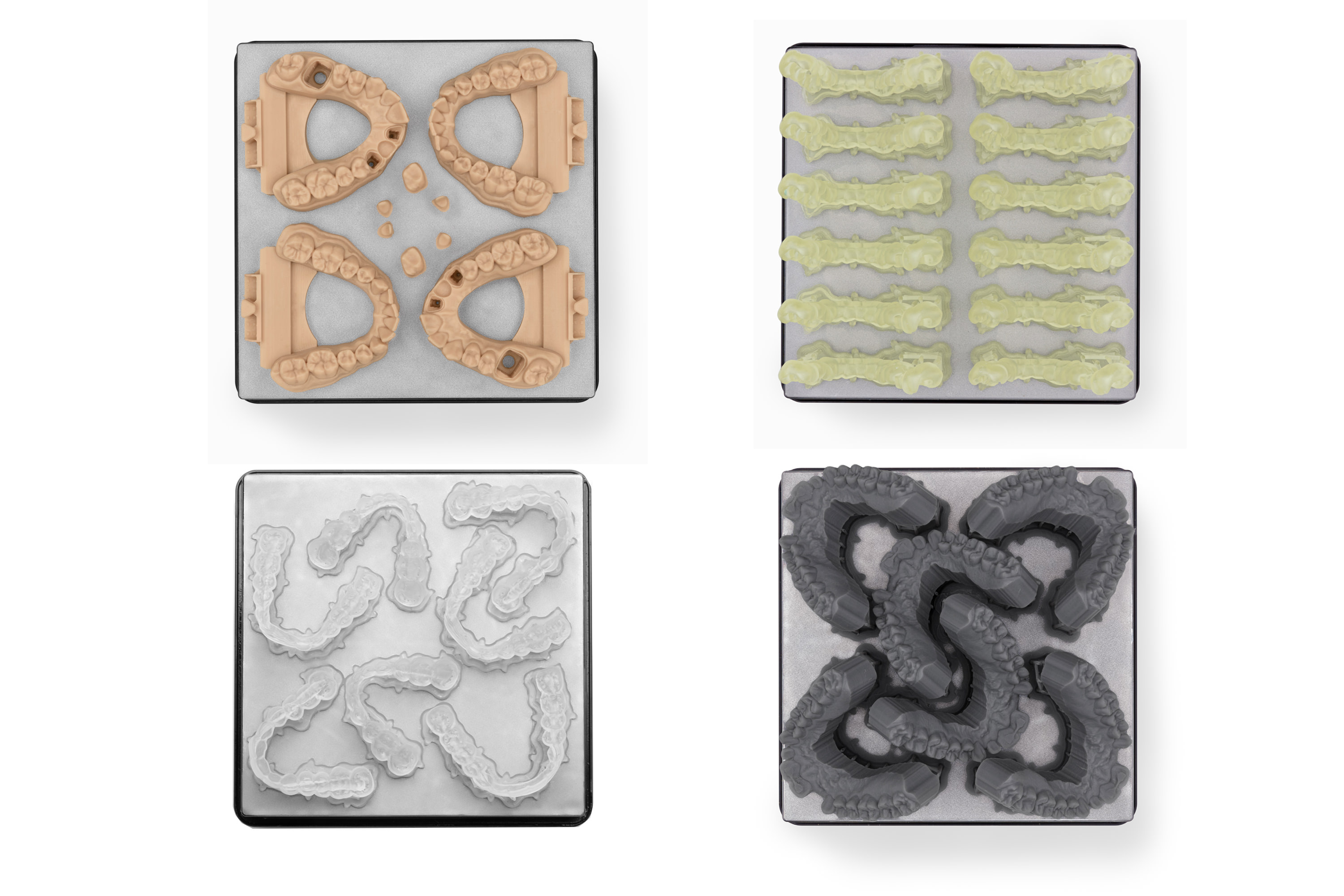 SLA printers offer large build volumes and a wide range of materials. From top left to bottom right: crown and bridge models, surgical guides, splints, and orthodontic models.