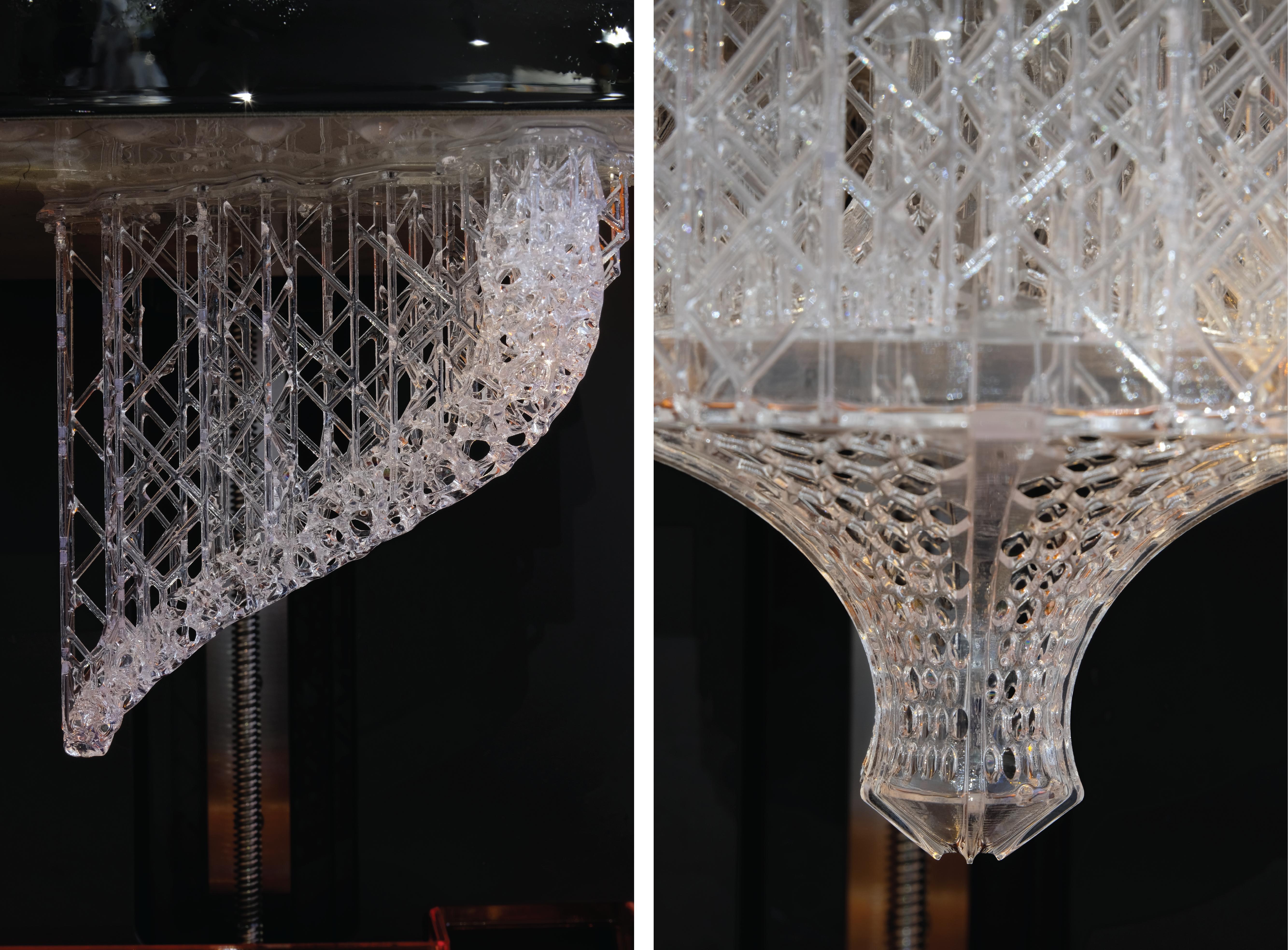 Erste Experimente mit Oberfläche und Stützstrukturen führten das Studio Moritz Waldemeyer zu einer Rautenmusterung, damit sich das Modell selbst halten kann und möglichst wenige Stützstrukturen braucht.
