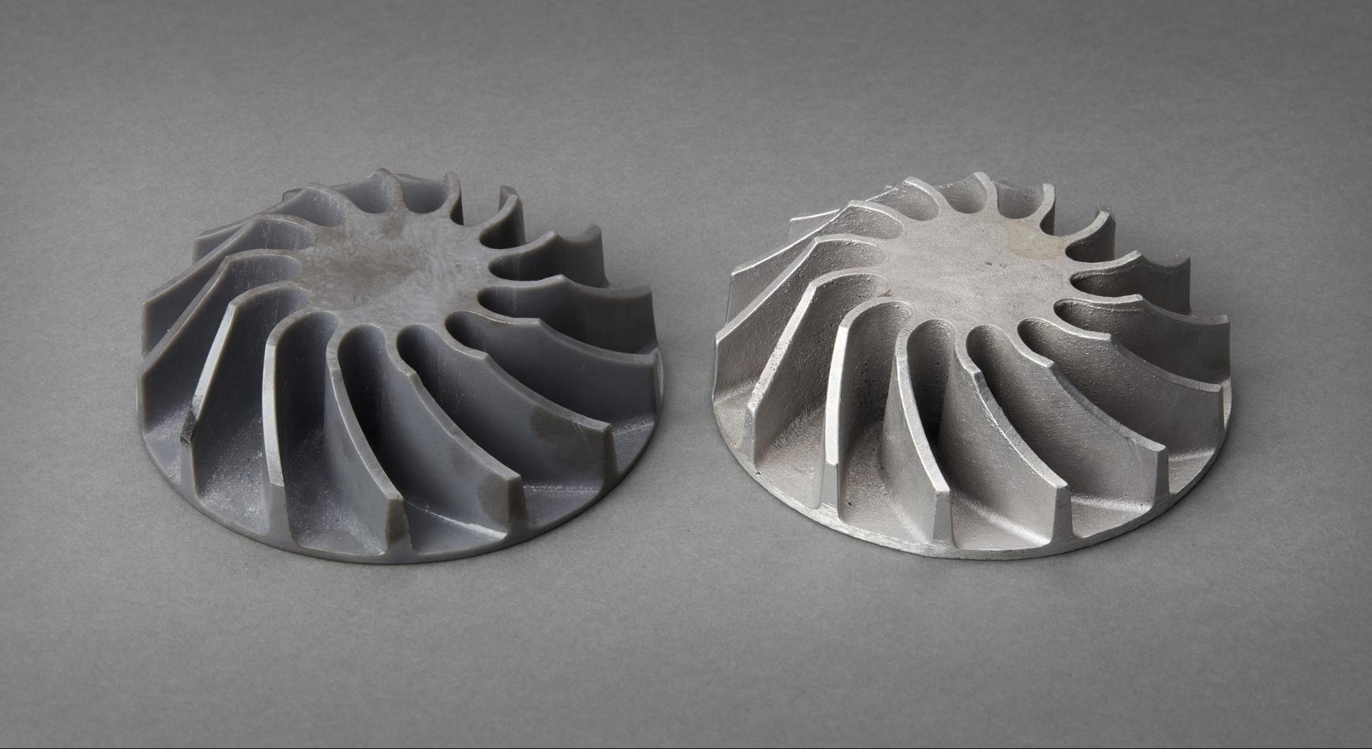 3D printed impeller cast in metal.
