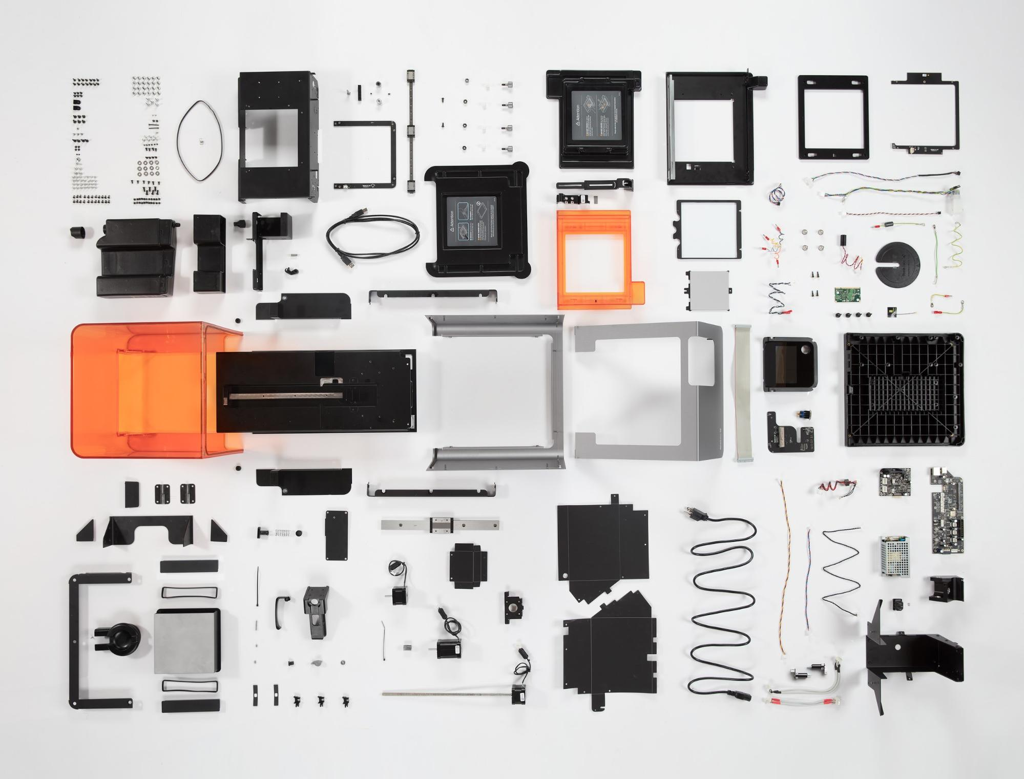 Parts and components of the Form 2 stereolithography 3D printer
