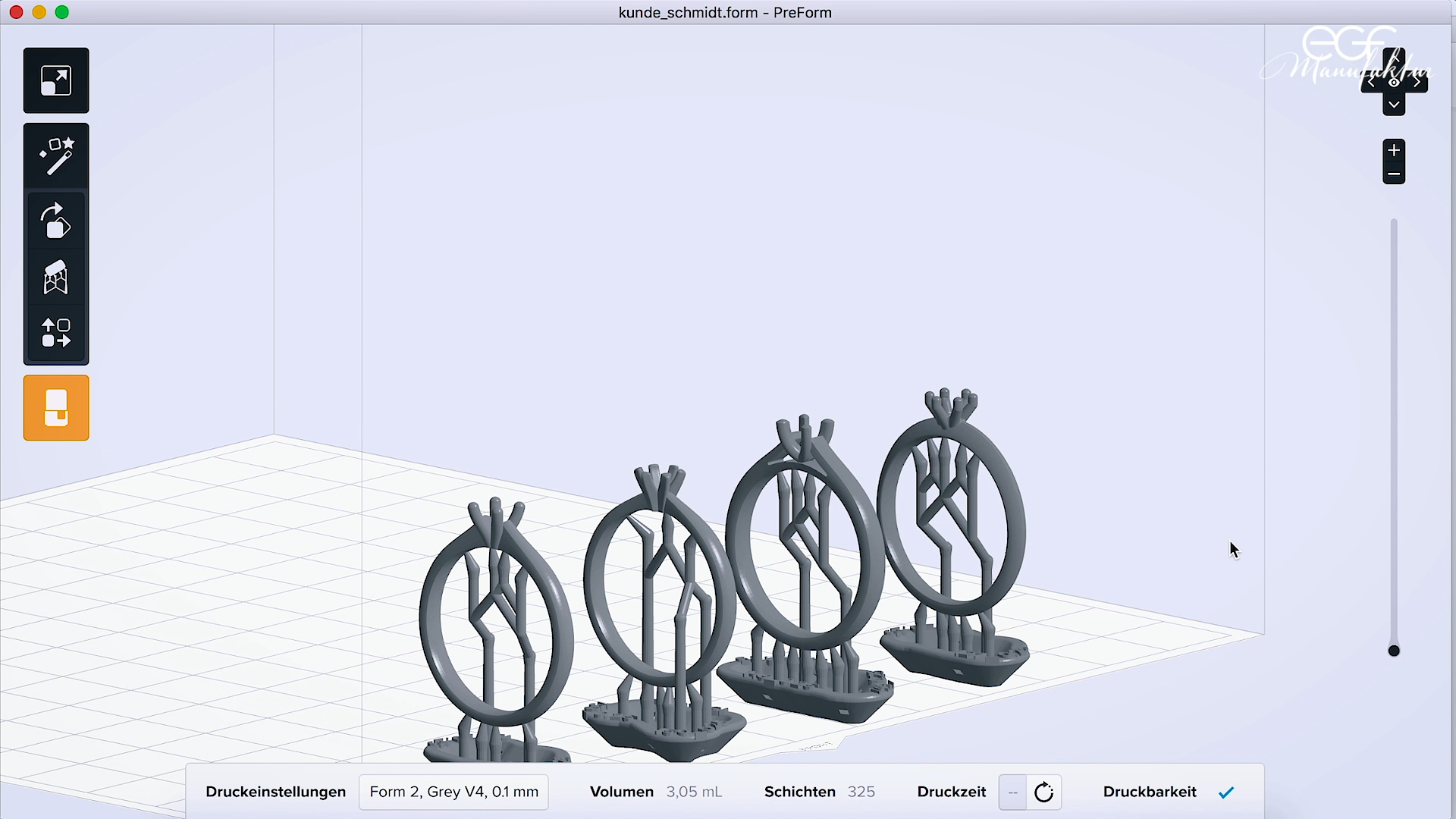 Ring models set up in Formlabs PreForm print preparation software