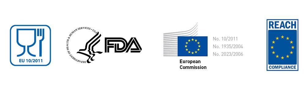 Look for these labels indicating FDA and EU approval. Beware that a material being 'compliant with' doesn't mean that it is explicitly approved by the institutions, so always check the technical datasheets for a certificate.
