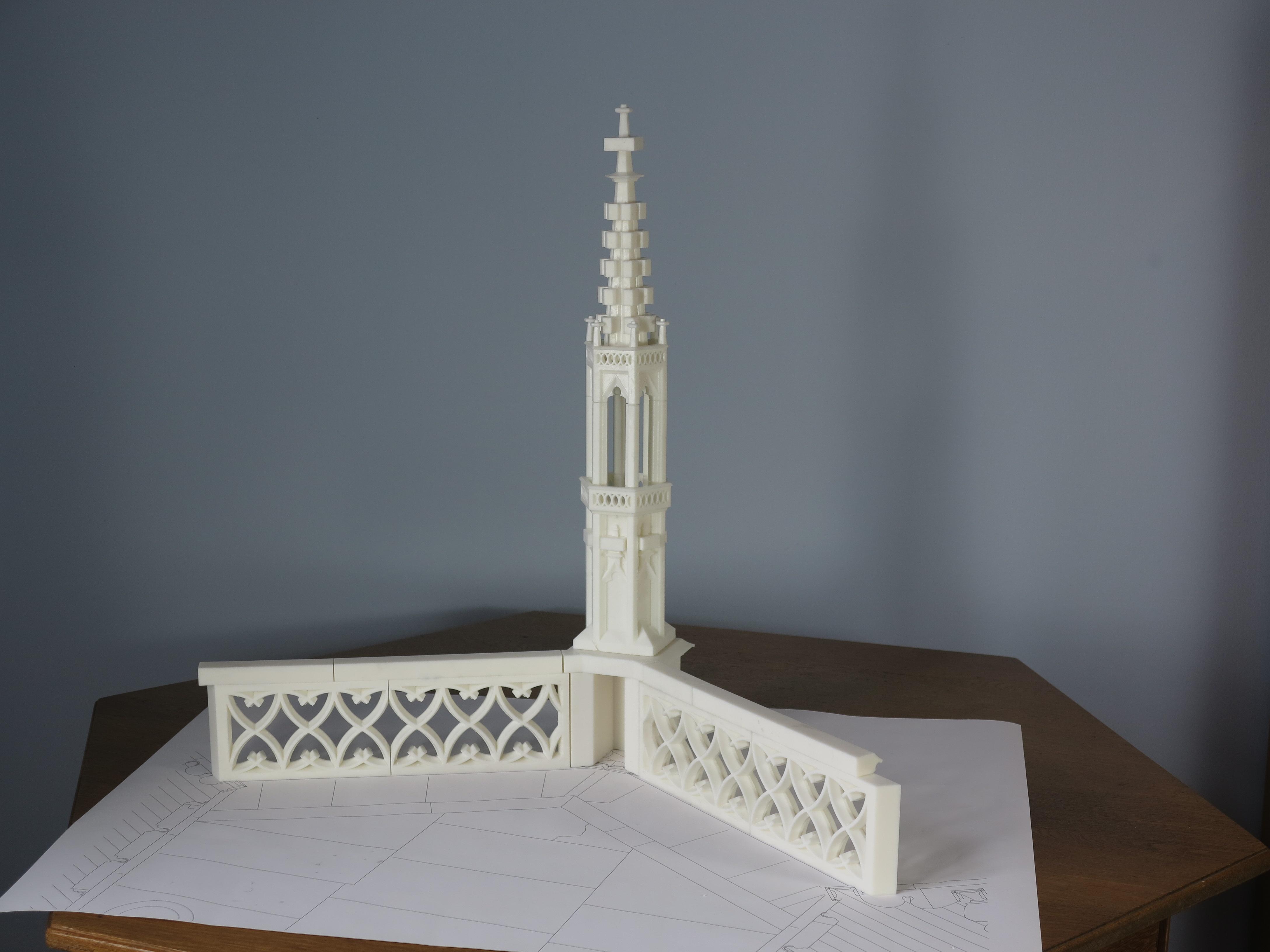 3D-Modell der Musterachse, der Kapellenpfeiler 15, mit angrenzenden Maßwerkfeldern im Maßstab 1:10.