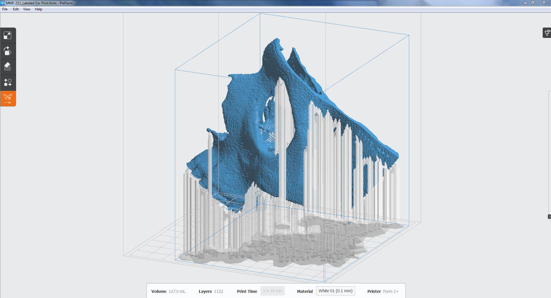 Cranial model in PreForm