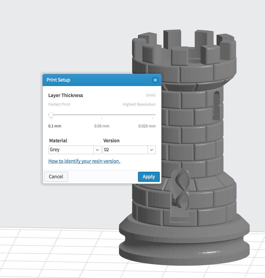 Print-setup includes Layer Thickness and Material