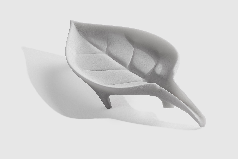 Un porte-savon imprimé en résine Céramique, et post-traité pour obtenir un aspect distinctif.