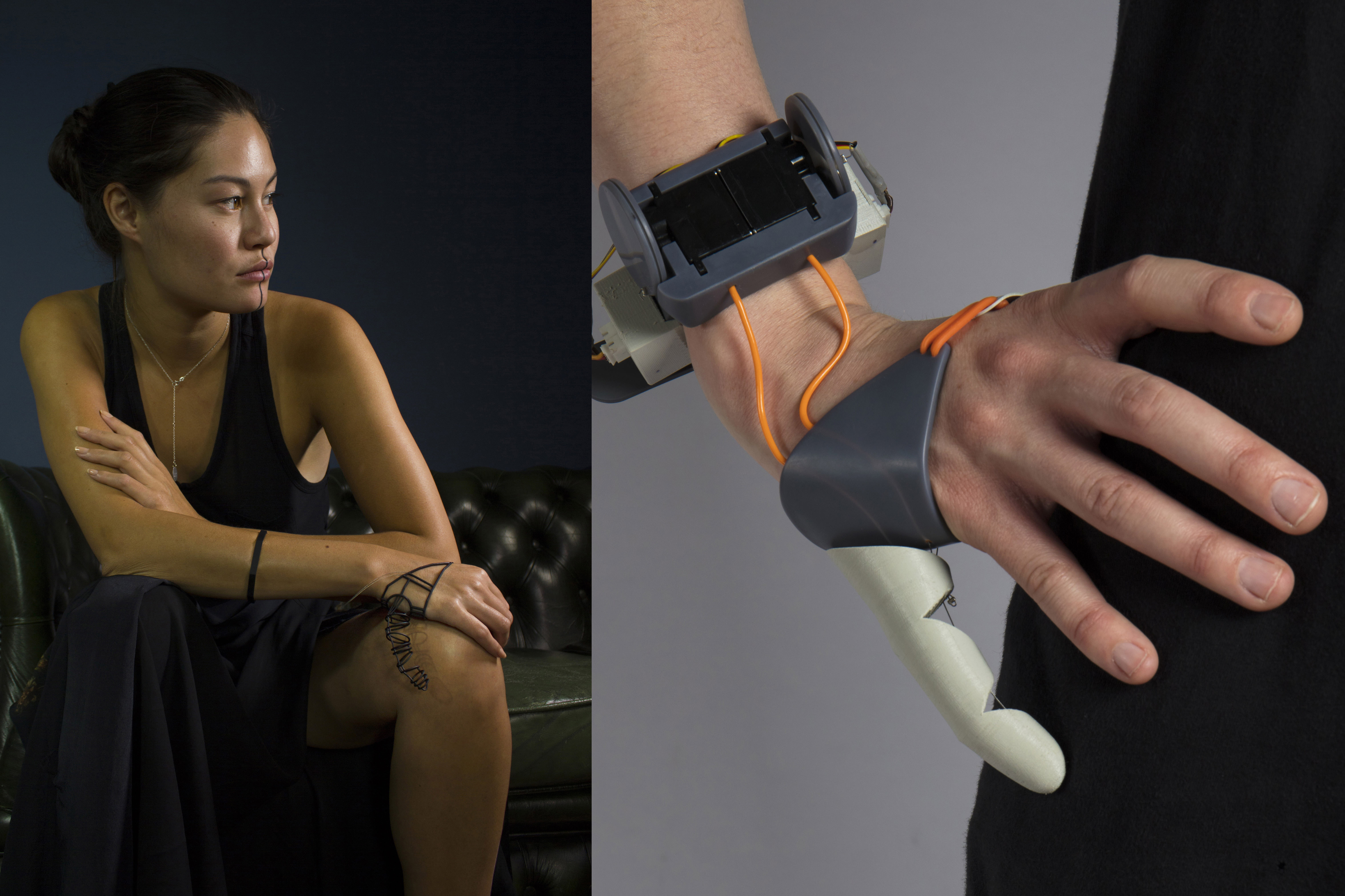"""The hand cover and servo wrist piece on """"The Third Thumb"""" are both produced with Formlabs Grey Resin. The jewelry thumb, shown on the left, is a version of""""The Third Thumb"""" reimagined in a kinetic jewelry setting, and is printed with Formlabs Black Resin."""
