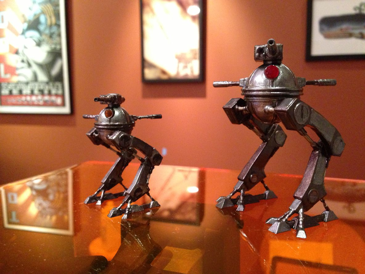 Walking Robots: Zac Wollons finished these walking robots using primer and metallic paint.