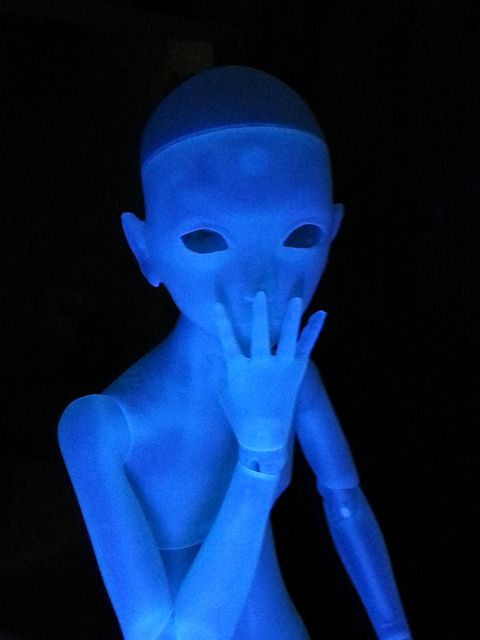 Glowing Doll: Catherine Hajek's ball-jointed figure glow under UV light.