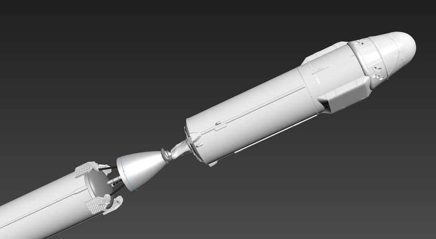 Oli designed the Falcon 9 CAD model in 3DS Max. This image shows the second stage of the Falcon 9 rocket and the payload with the Dragon capsule on the top.