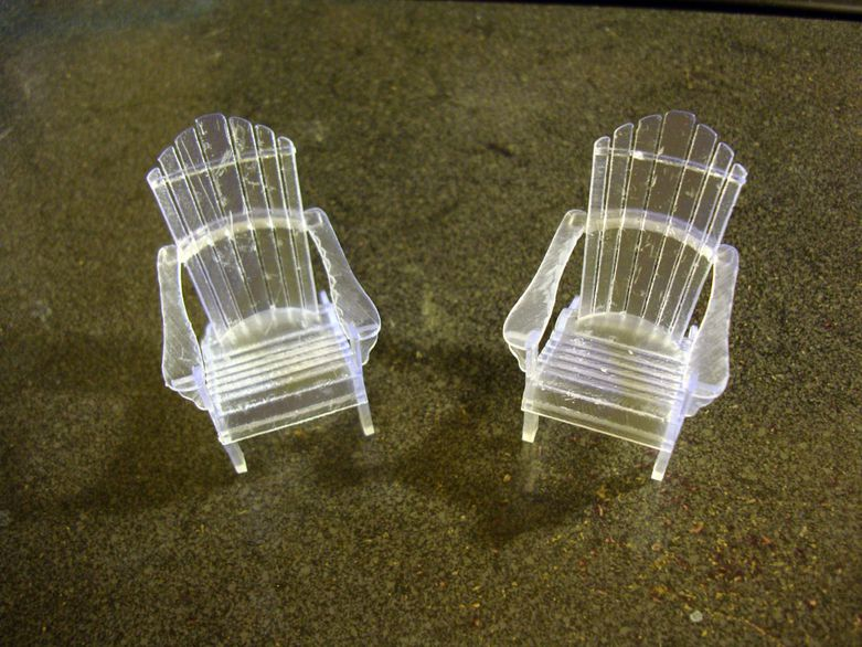 Half scale Adirondack chairs printed on the Form 1 by Ron Woodward