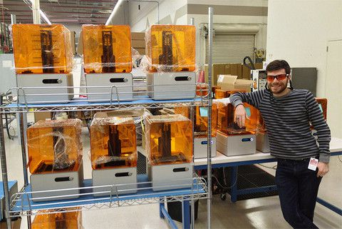 Formlabs engineer Craig Brody with Form 1 print farm
