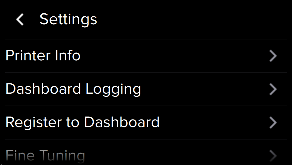 Dashboard registration within touchscreen Settings menu