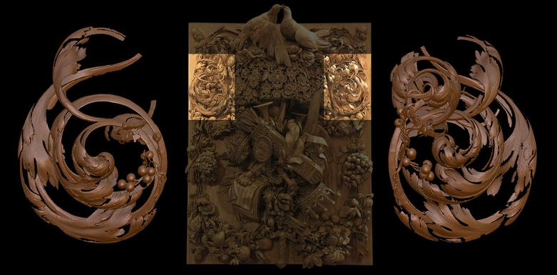 "The Panel of Cosimo III, a 17th-century wood carving artwork by Grinling Gibbons. Mercante created a ""virtual cast"" (left) based on a scan of a similar decoration within the piece (right) and elaborately modified it to fit into the incomplete area. (<a href=""https://eldiariodelamarina.com/lintaglio-ligneo-di-grinling-gibbons-visibile-nel-museo-dei-tesori-dei-granduchi-di-palazzo-pitti/"" target=""_blank"">source</a>)"