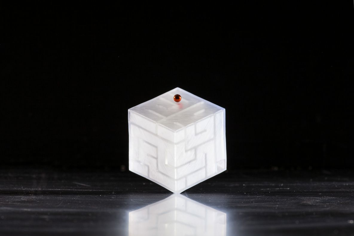 3D printed maze wrapped around the surface of a cube by Jacob Haip