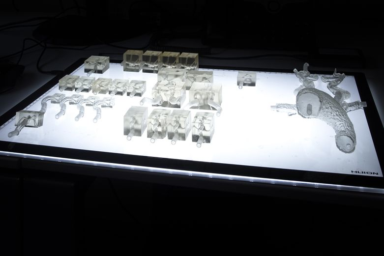 A display of 3D artery models in different sizes, printed with Clear Resin and a 0.025 mm resolution.
