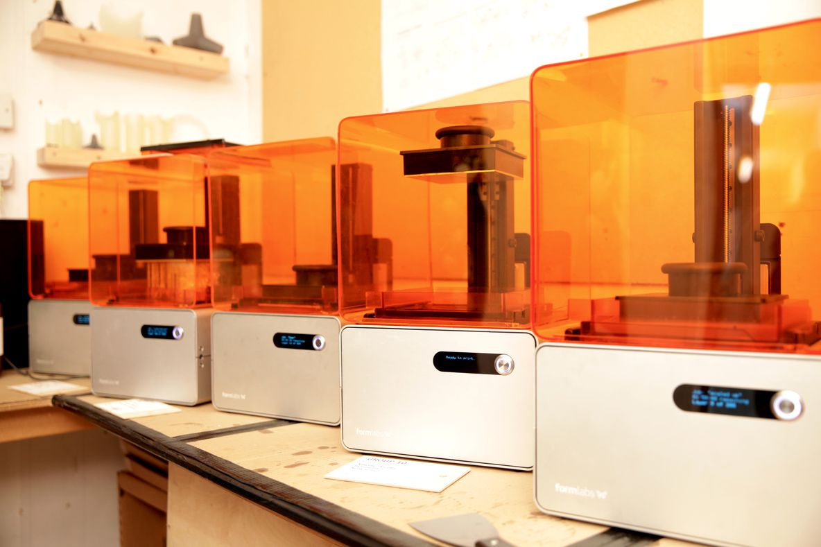 "RCA students prototyped on Form 1+ 3D printers in a ""Benchtop Factory"""