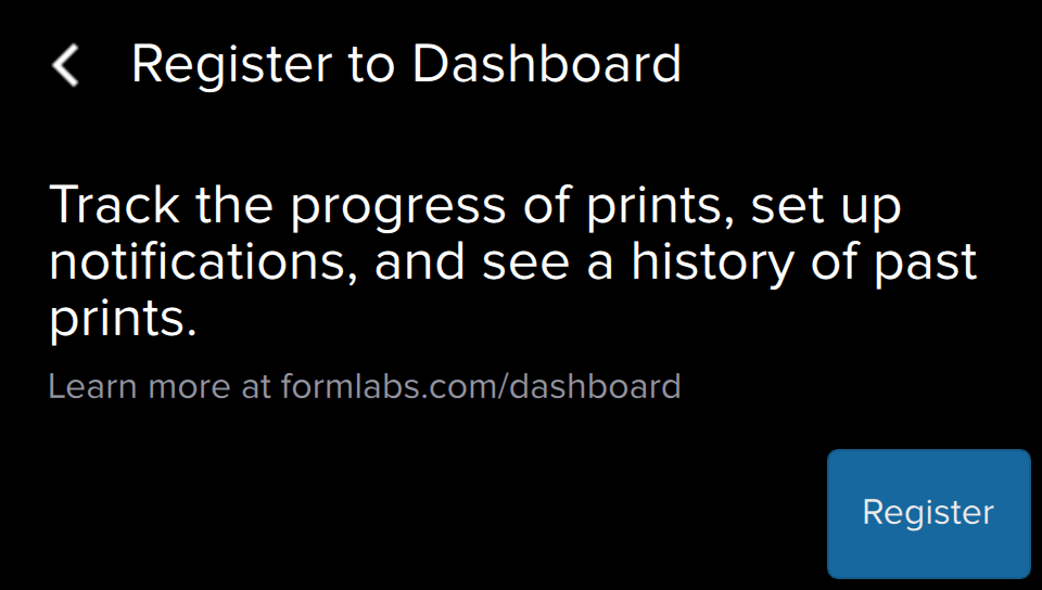 Register with Dashboard window