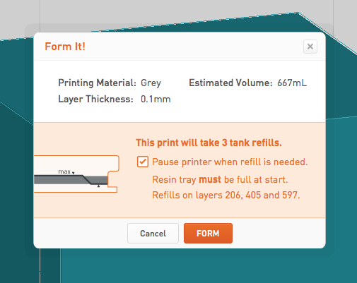 PreForm automatically pause print when refills are needed