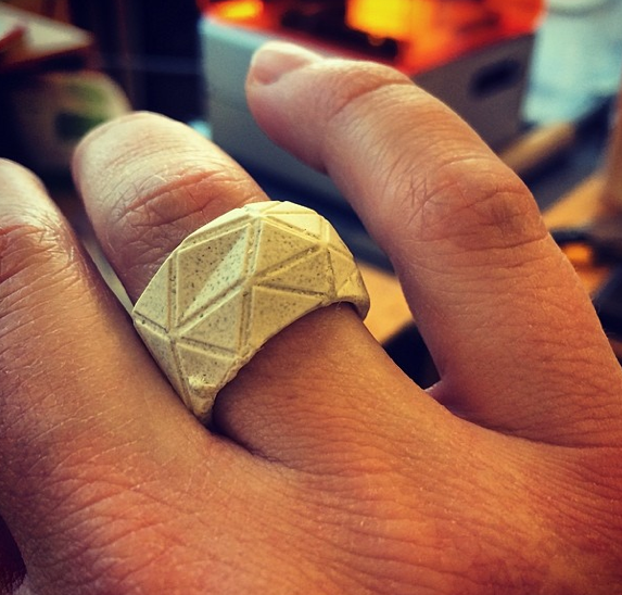 Customized Ring: Ryan Scavnicky used his Form 1 print this design, mold it into silicone, then cast it using concrete.