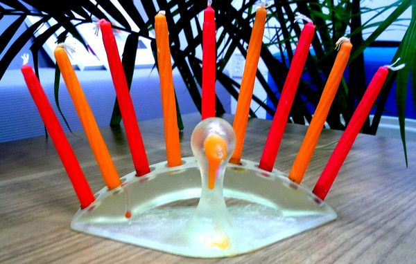 Thanksgiving turkey menorah by Sivan