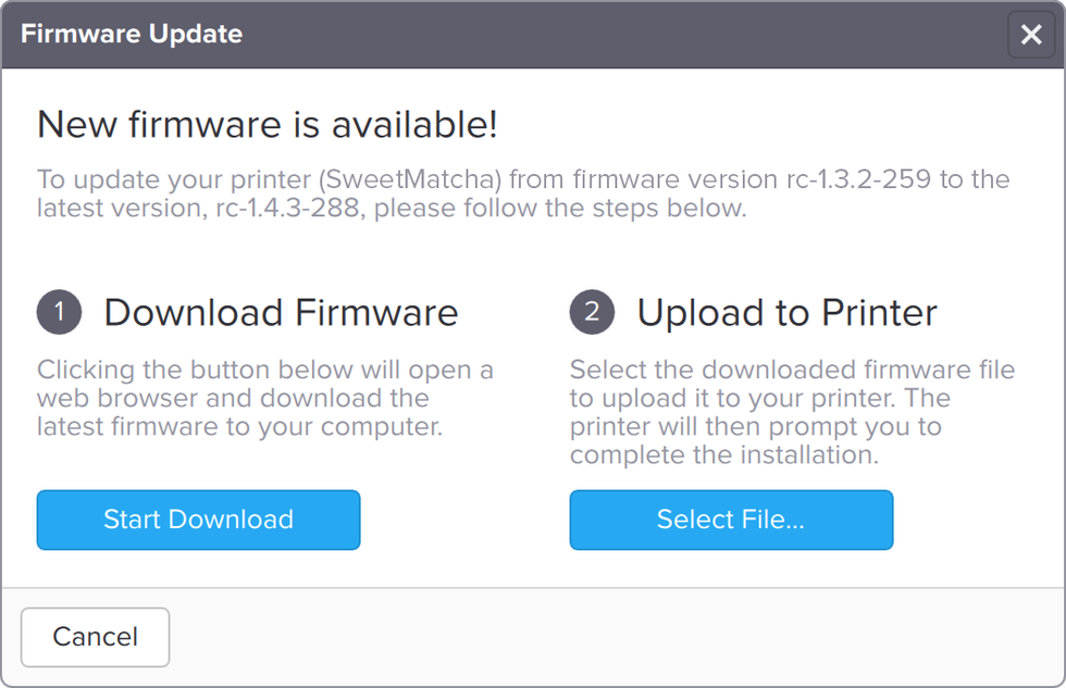 PreForm's firmware update dialog