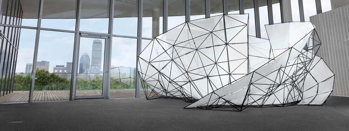 A 3D printed pavilion in the MIT Media lab at Formlabs' FUSE conference.