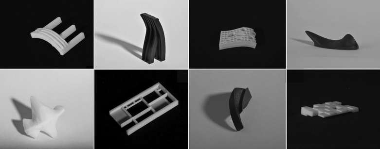 A montage of 3D printed sunshade structures.