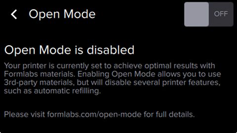 Open Mode Disabled