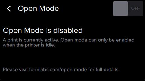 Open Mode Disabled, printing