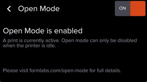 Open Mode Enabled Printing