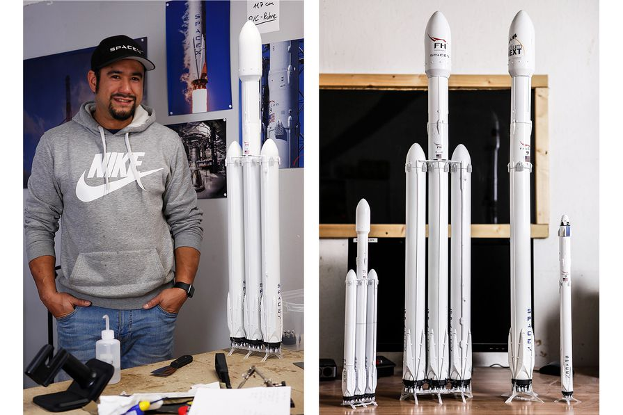 Showing off scale and proportion. Oli standing next to the 1:72 Falcon Heavy model (left), and the full scale model lineup (right).