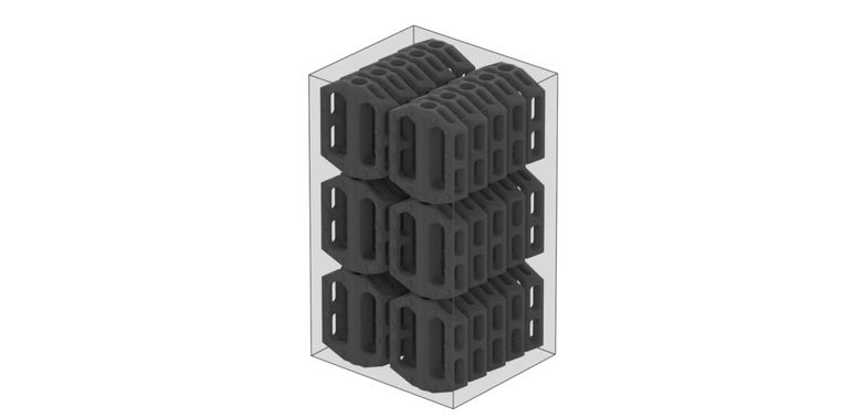 SLS allows you to pack the build chamber with as many parts as you can fit and print them without supports to save time in post‑processing.