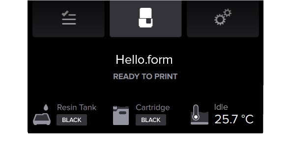Form 2 ready-to-print screen displays current tank temperature.