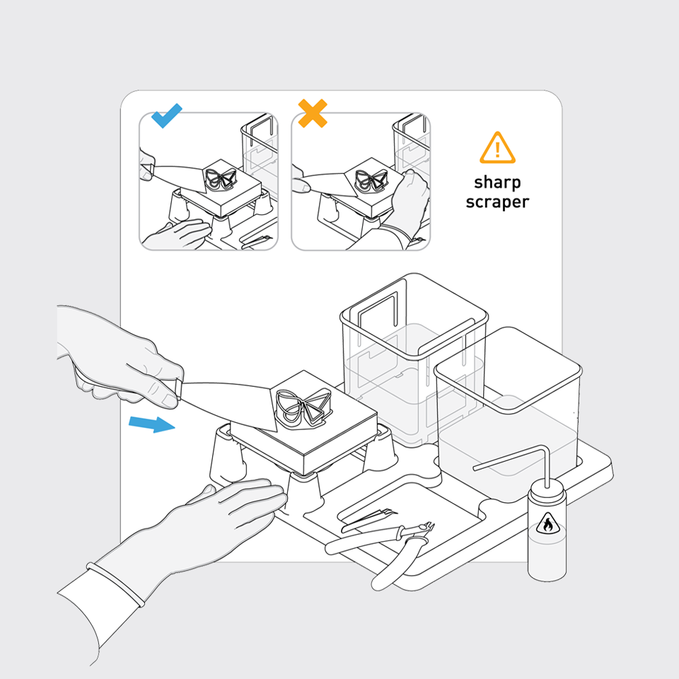Step 2—Peel Off Part: The scraper from the Form Finish Kit helps you easily peel your part off the build platform.