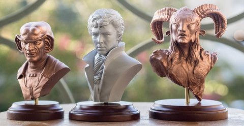 trio of Form 1 printed busts by Robert Vignone