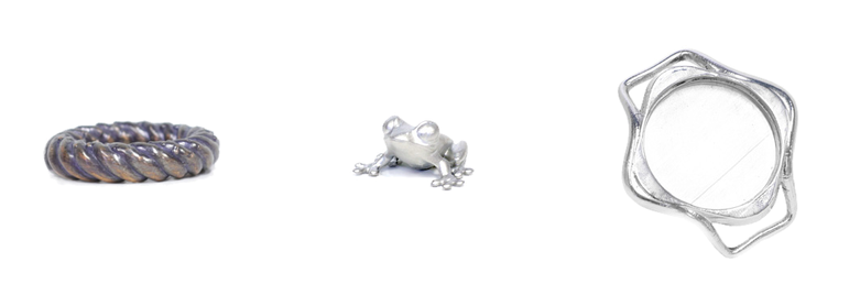 Electroplated and polished ring, frog, and watchcase