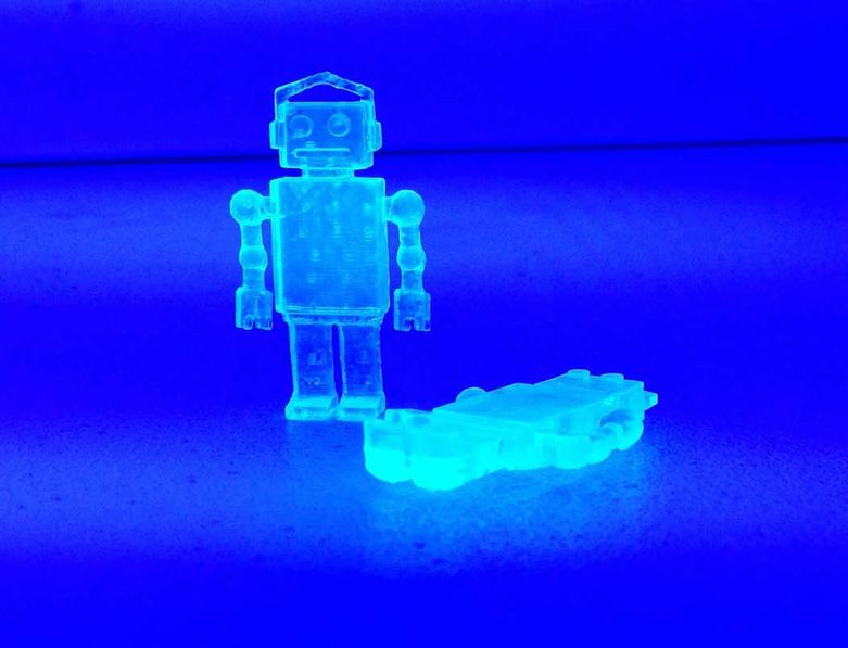 Gregg Wygonik 3D Printed Mini Robots under UV light