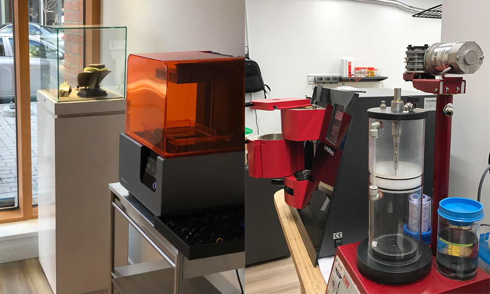 Davidson Jewels Workshop with Form 2 3D printer and vacuum investment mixer