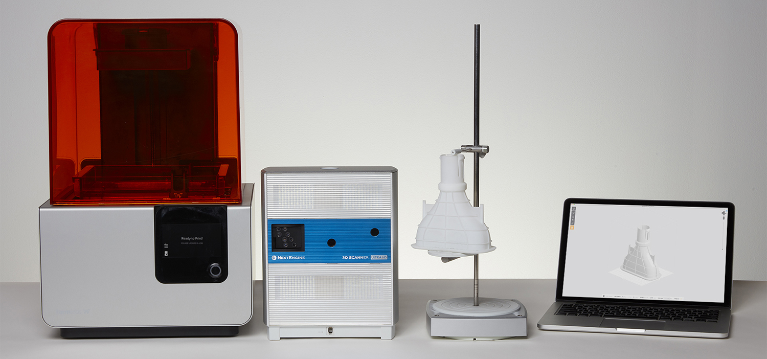 A Form 2 3D printer and 3D scanner
