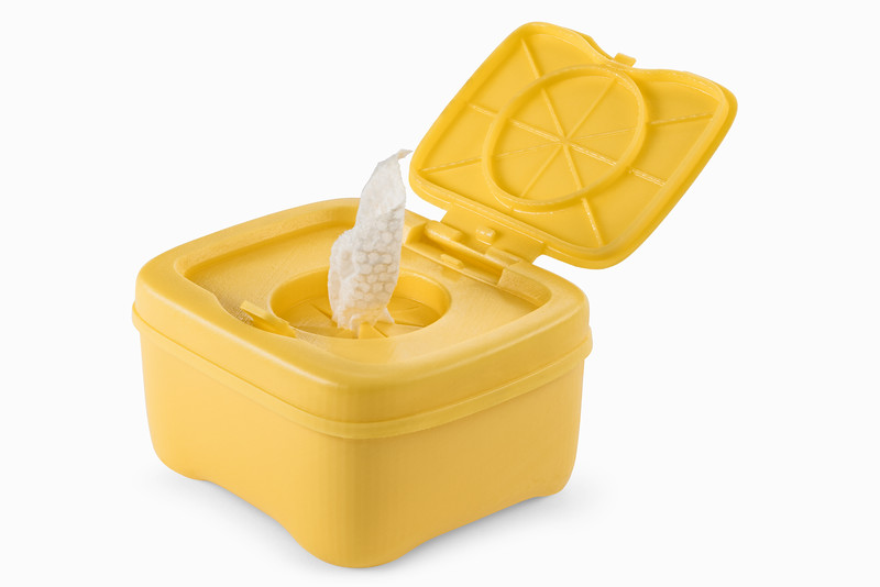 Durable Resin is perfect for prototyping products that will eventually be made of polypropylene, such as this container, which features a functional hinge and a snap-fit locking mechanism.