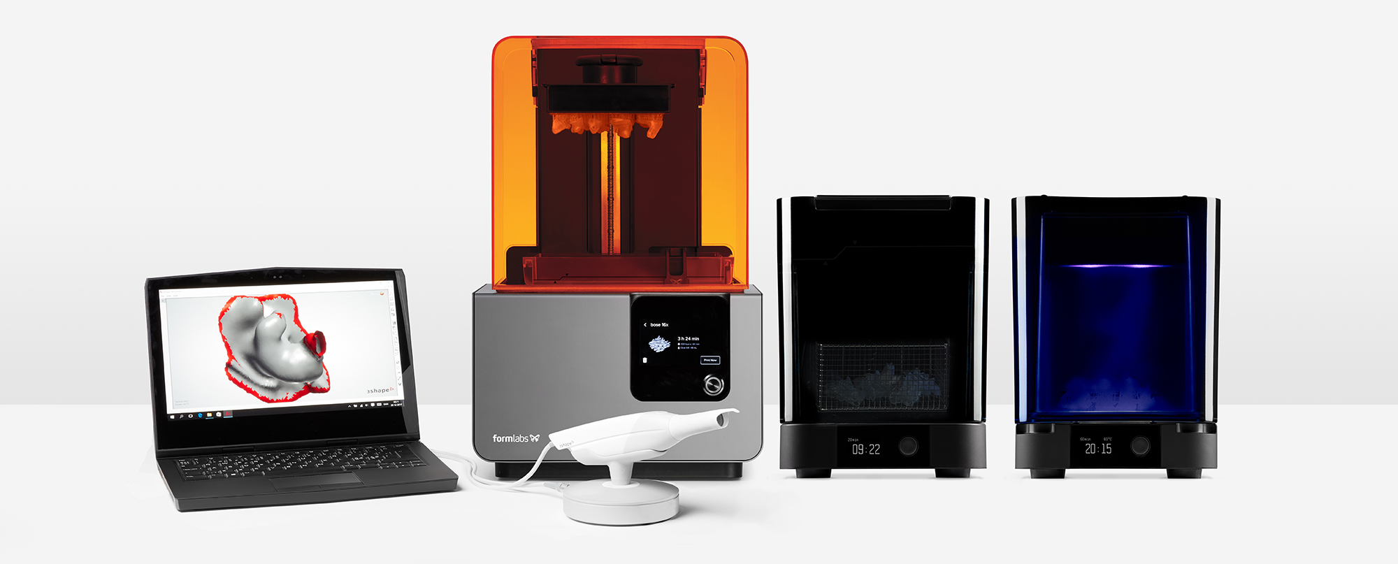 Formlabs Form 2 3D printer and 3Shape's Phoenix in-ear scanner.