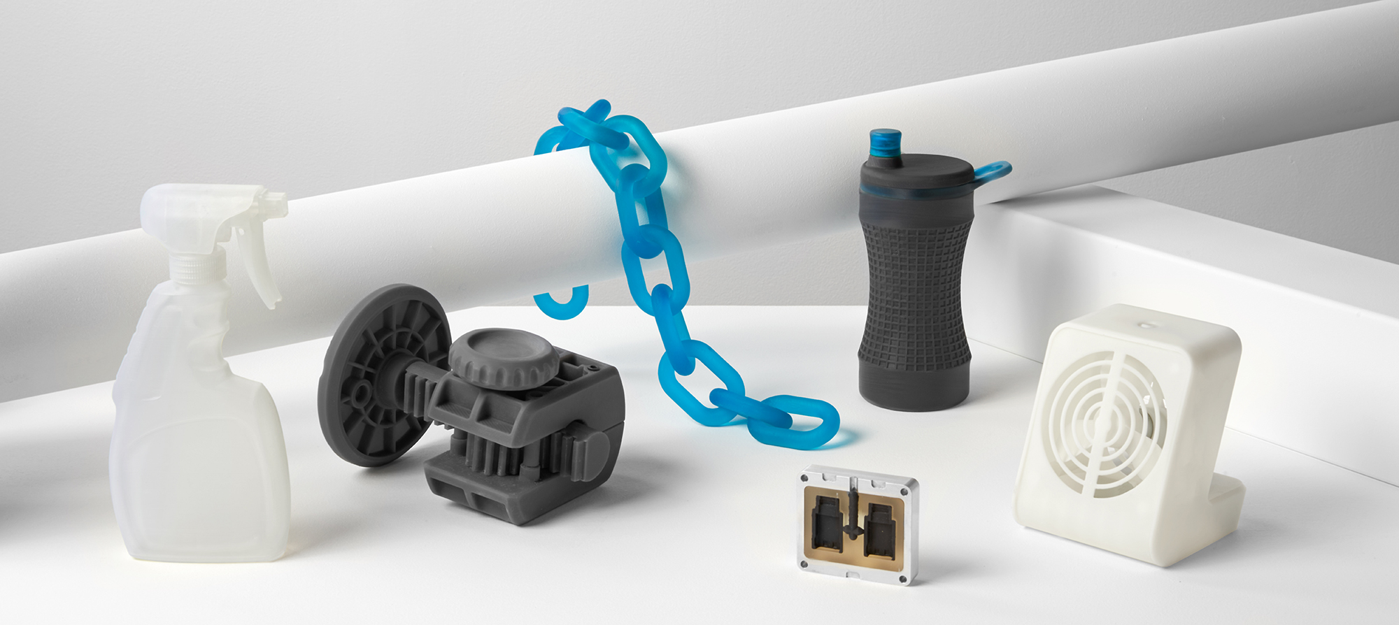 A variety of parts 3D printed in Formlabs Engineering Resins