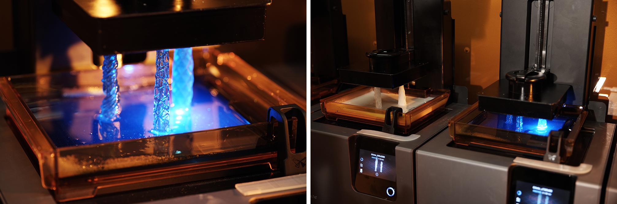 Formlabs stereolithography (SLA) Form 2 3D printers print multiple custom razor handle designs