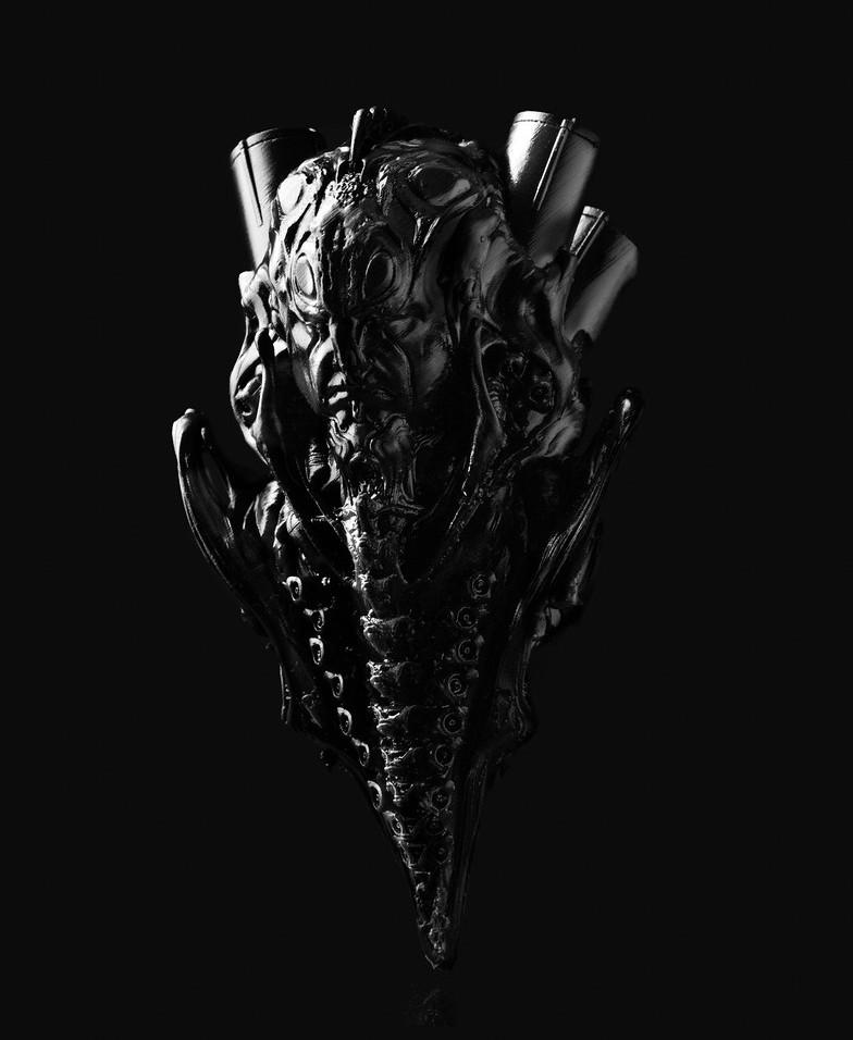 Landis mit seinem Alien-Design. Der 3D-Druck erweckt die Designs von Landis zum Leben, er kann mit dem Design interagieren und das Endprodukt verbessern.