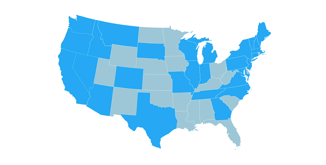 A map of the United States highlighting which states submitted to the challenge.
