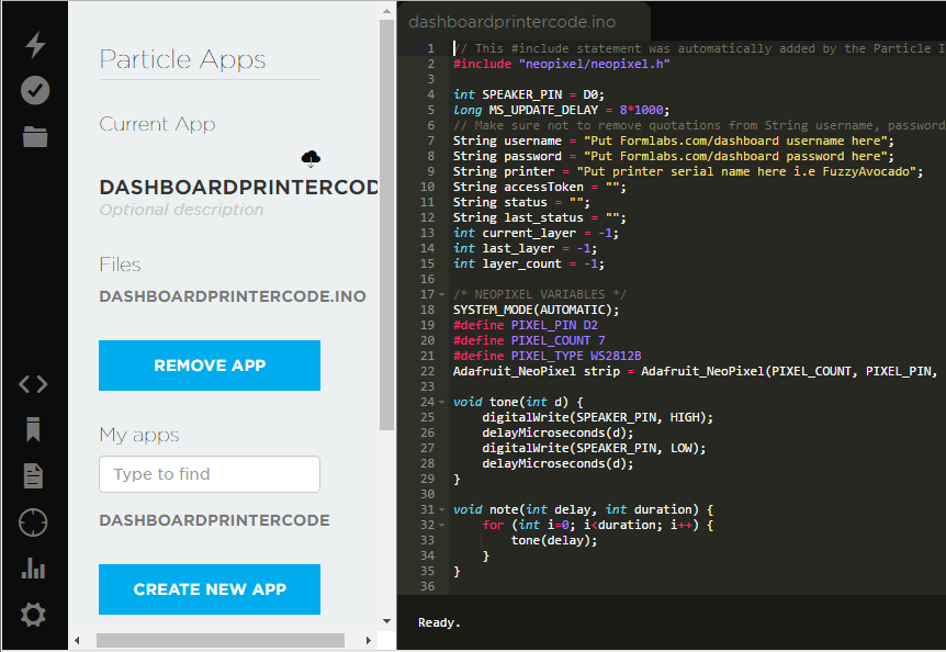 A screenshot of code in the Particle app interface